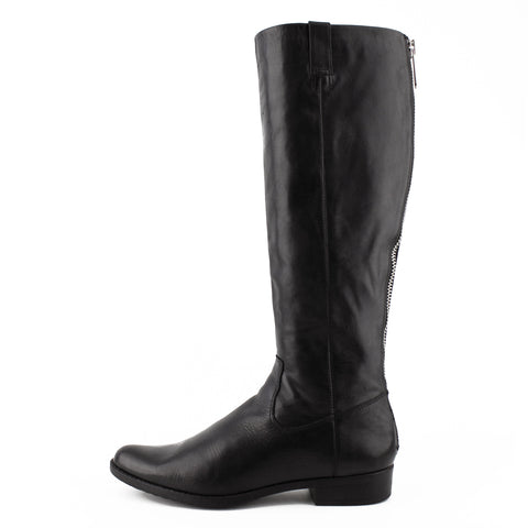 Calvin Klein Tall Black Leather Zip Flat Boots sz 39.5 / 9