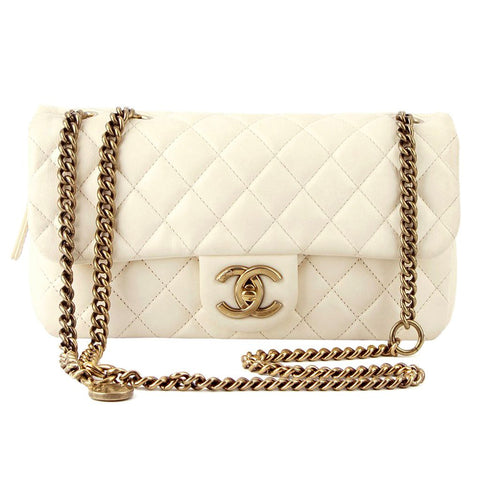 Chanel Ivory Single Flap Brass Medallion Chain Purse