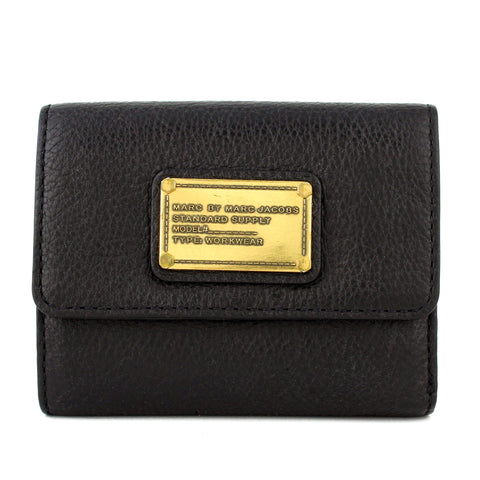 Marc by Marc Jacobs Plated Black Bifold Leather Wallet