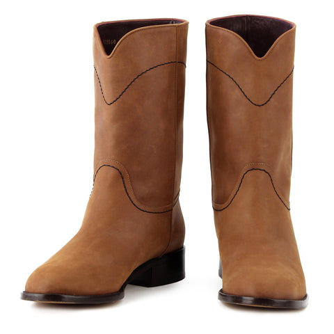Chanel Calf-High Tan Suede Boots sz 39.5