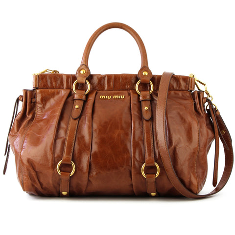 Miu Miu Vitello Lux Shopper Bag - Palissandro Brown