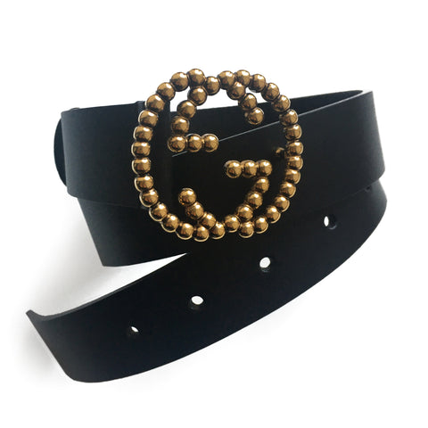 Gucci Interlocking GG Black Leather Belt