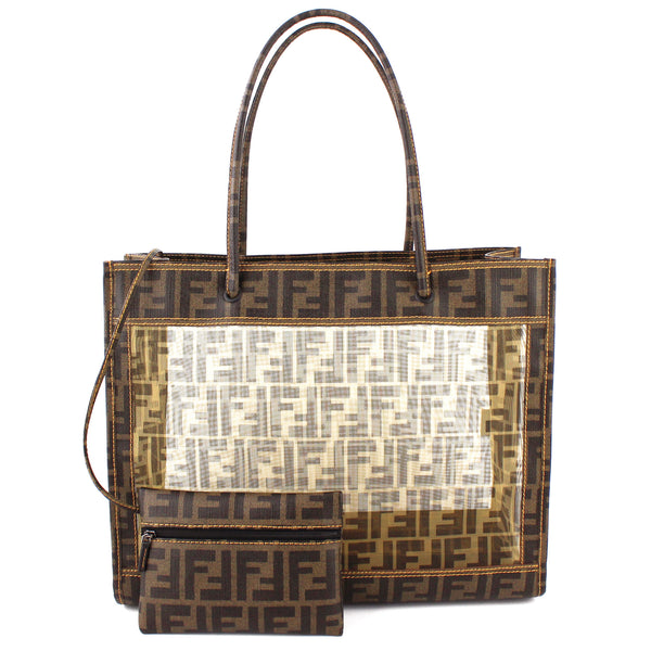 Fendi Zucca Monogram See-Through Mesh Canvas Tote Bag