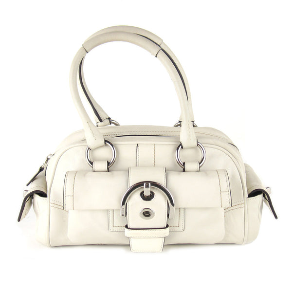 Coach Ivory Leather Bowler Bag
