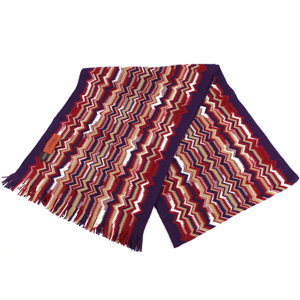 Missoni Soft Knit Wool Scarf in Red/White/Purple/Tan