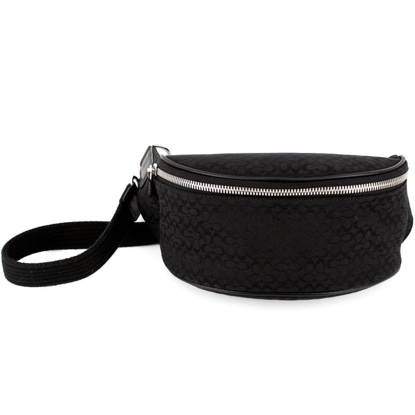Coach Half-Moon Black Canvas Waist Pouch