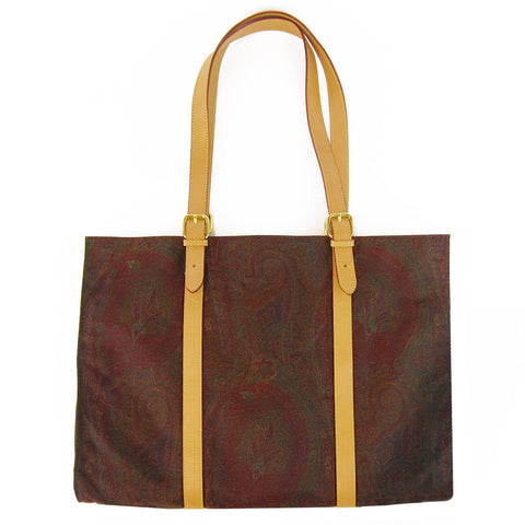 Etro Paisley Canvas & Leather Slim Tote