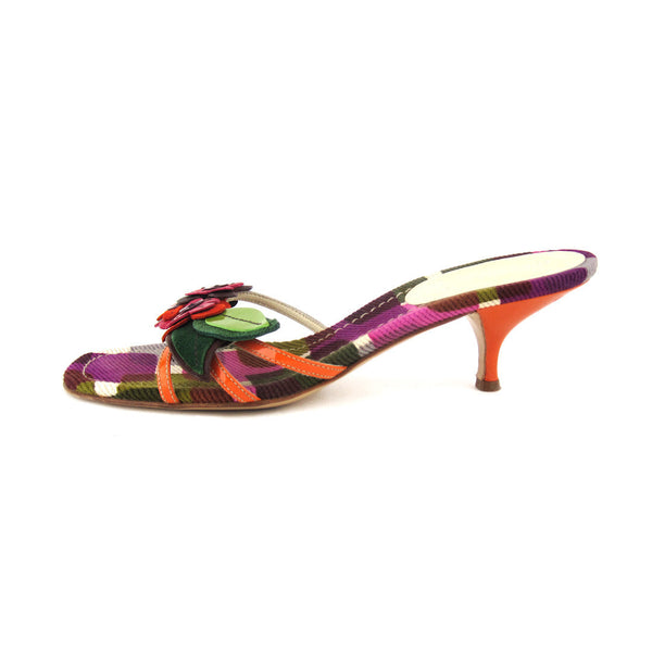 Miu Miu Kitten Heel Flower Sandals 39