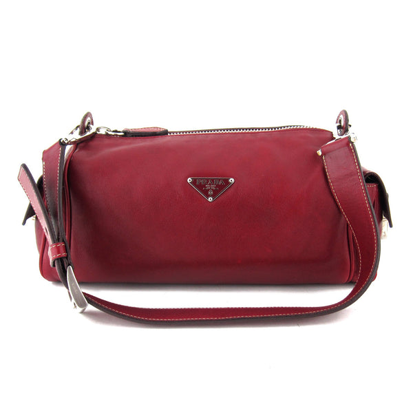 Prada Vitello Heavy Cherry Shoulder Bag