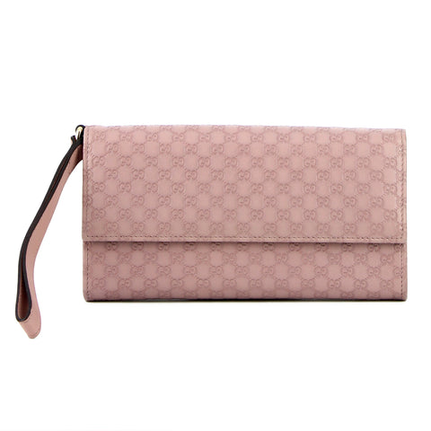 Gucci Guccissima Lilac Leather Folding Clutch and Wallet