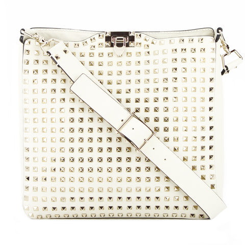 Valentino Ivory Allover Rockstud Large Leather Crossbody