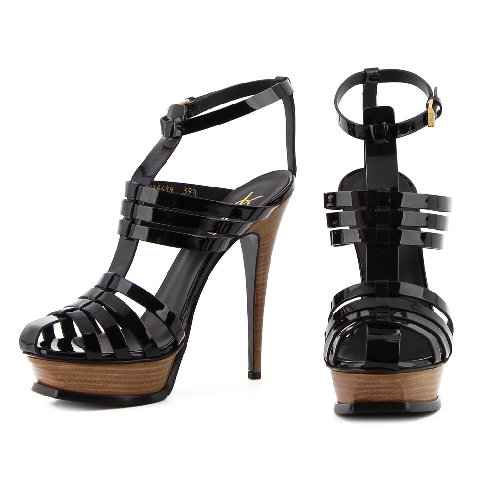 135dc9096b5 COM - Yves Saint-Laurent Tribute Patent Leather   Wooden Platform Sandals sz  39.5