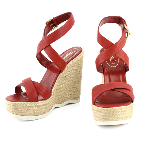 Yves Saint Laurent Dark Orange Malo Wedge Platform Sandals sz 39.5/9