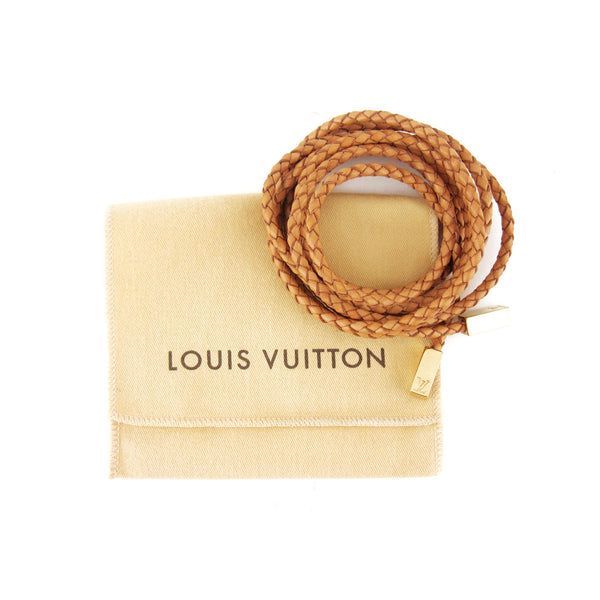 Louis Vuitton Braided Tan Leather Belt