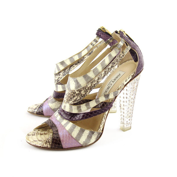 Jimmy Choo Exotic Skin Disco Sandals sz 38.5