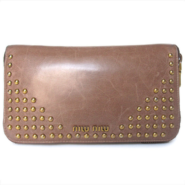 Miu Miu Vitello Shine Studded Wallet