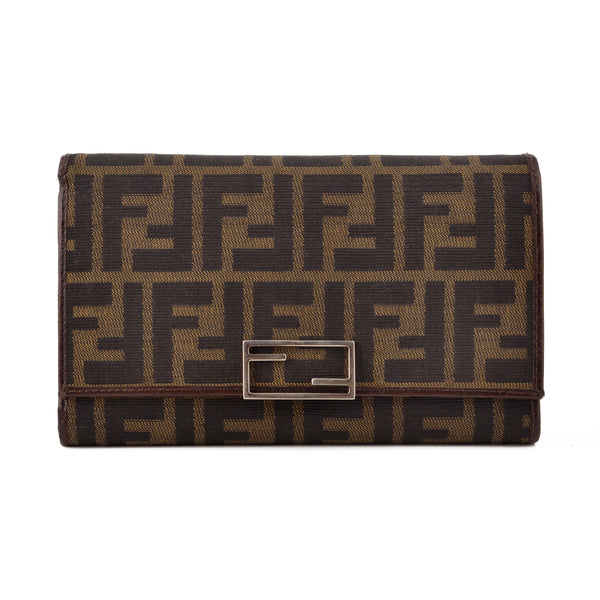 Fendi Zucca Canvas & Leather Clutch Wallet
