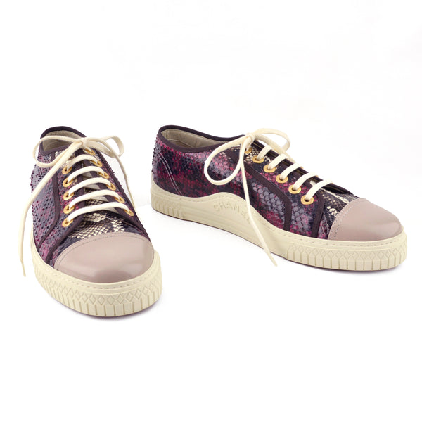 Chanel Laced Purple Exotic Skin Sneakers sz 42 / 11