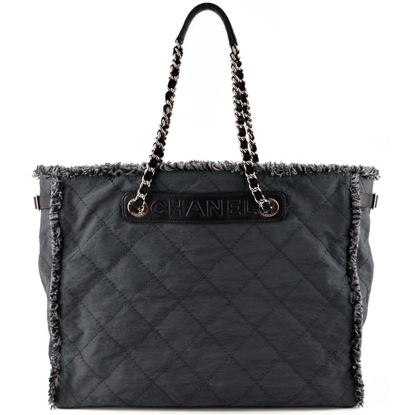 Chanel Fringed Edge Charcoal Coated Canvas & Leather Tote