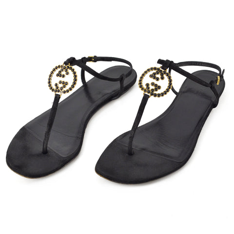 Gucci Crystal GG T-Strap Thong Sandals sz 38.5