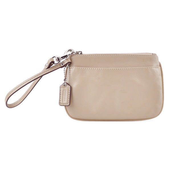 Coach Small Taupe Beige Leather Wristlet Clutch