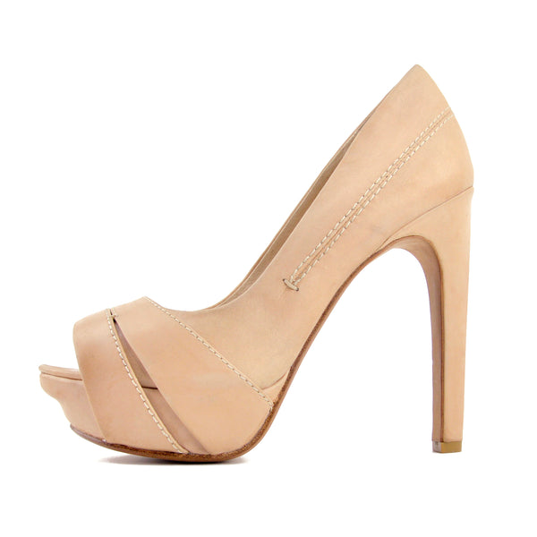 House of Harlow Nude Beige Leather Peep Toe Pumps sz 38