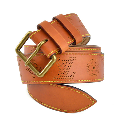 Louis Vuitton Cognac Monogram Perforated Leather Belt
