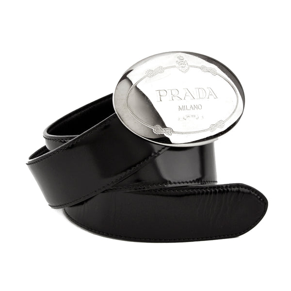 Prada Oval Logo Buckle Black Leather Belt
