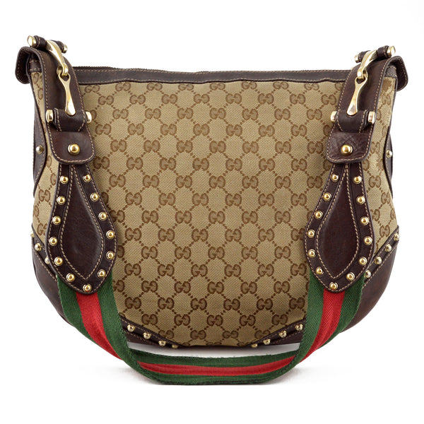 Gucci Studded Canvas and Leather Signature Stripes Hobo Bag