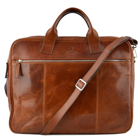 Tiger of Sweden Cognac Leather Messenger Briefcase