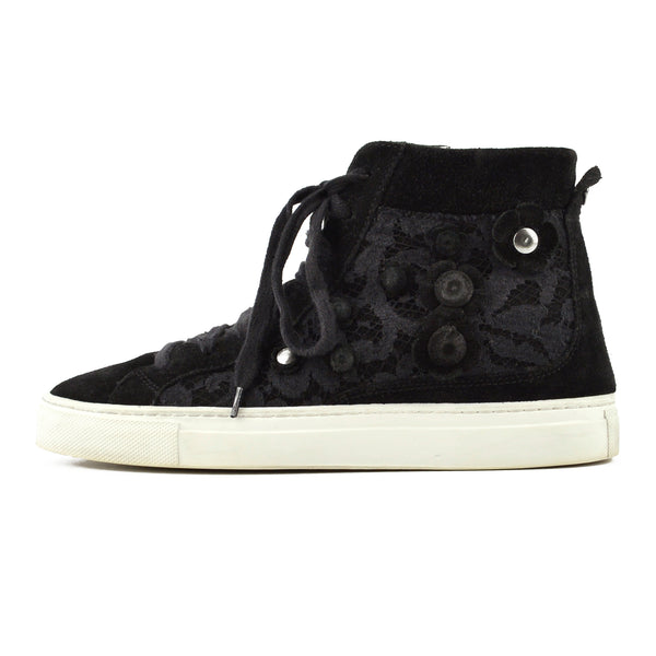 Twin Set Black Suede High-Top Sneakers sz 38
