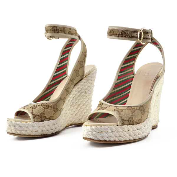 Gucci GG Canvas Platform Espadrille Wedges sz 8