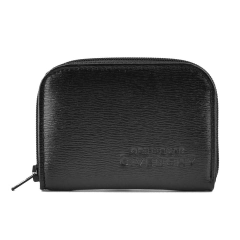 Givenchy Black Leather Small Zip Coin Pouch Wallet