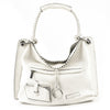 BCBG White Pebbled Leather Braided Shoulder Bag Tote