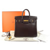 Hermes HAC 32 Chocolat Box Calf Leather Birkin Bag