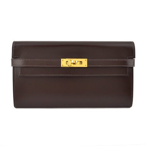 Hermes Kelly Chocolat Box Calf Leather Classic Wallet