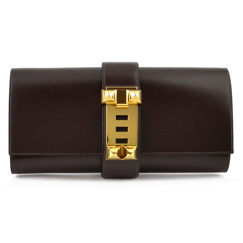 Hermes Medor 29 Chocolat Box Calf Leather Clutch