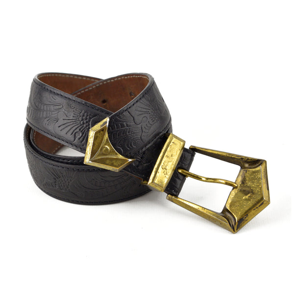 Balmain Tooled Black Leather Belt sz 36 / XS
