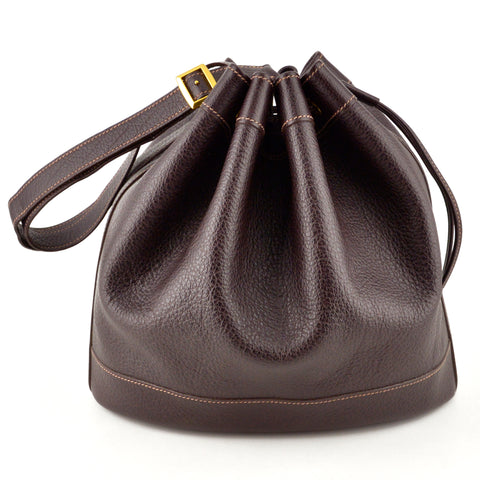 Hermes Market Chocolate Leather Bucket Bag