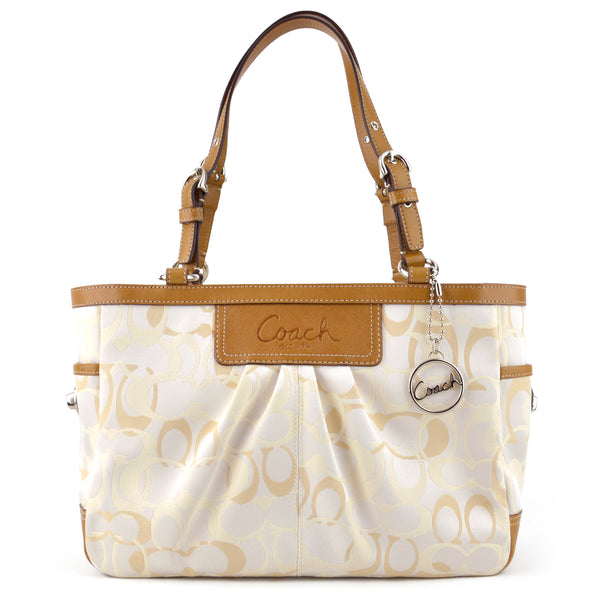 Coach Signature Pearlescent Canvas & Tan Leather Tote