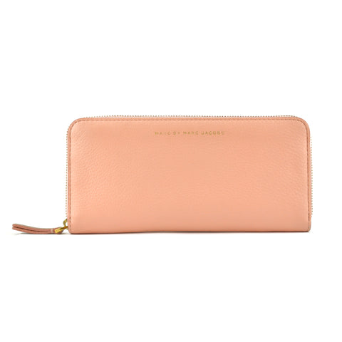 Marc Jacobs Salmon & Tan Leather Zip Long Wallet