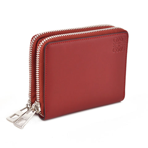 Loewe Carmine Red Double Zip Compact Leather Wallet