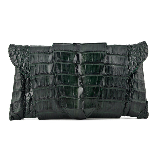 Bergé Dark Forest Green Crocodile Folded Envelope Clutch