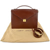 Giorgio Armani Vintage Brown Leather Portfolio Briefcase