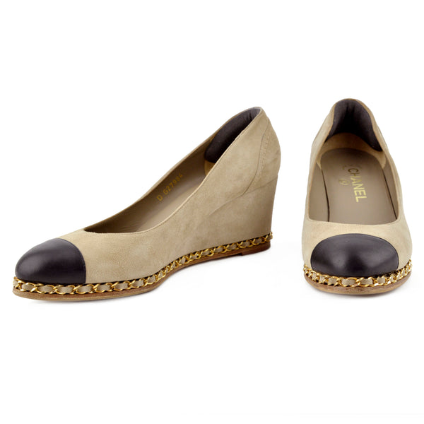 Chanel Cap-Toe Taupe Suede Chain Wedges sz 39.5