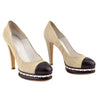 Chanel Cap-Toe Beige Tweed Chain Platform Pumps sz 39.5