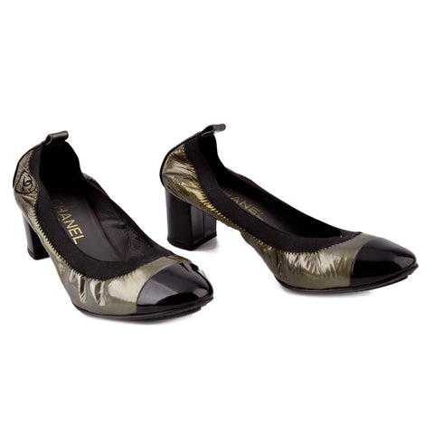 Chanel Patent Cap-Toe Metallic Stretch Ballet Flat Pumps sz 38.5
