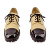 Chanel Patent Cap-Toe Beige Leather Oxford Shoes sz 38.5