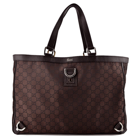 Gucci Large Brown GG Monogram D-Ring Tote