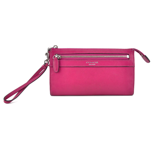 Coach Fuchsia Pink Leather Zip Clutch Wristlet Wallet